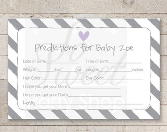 Girl Baby Shower Prediction Cards - Girl Baby Shower Decorations Baby Shower Games - Heart and Stripe Purple - Printed Cards 4x6 - Set of 12