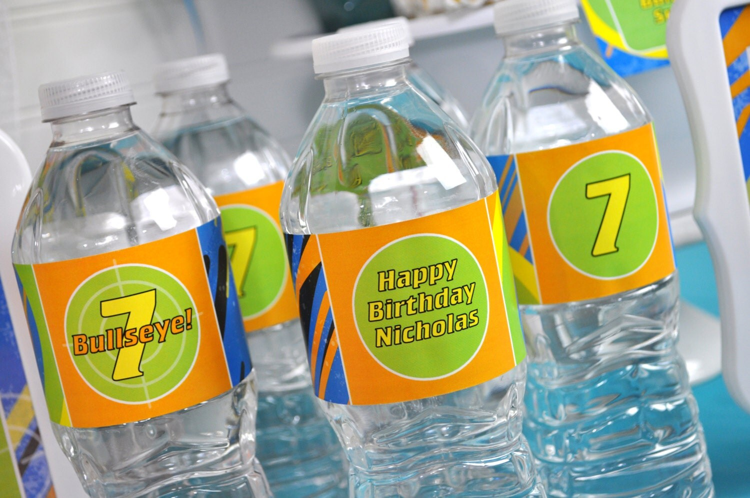 Nerf Gun Party Water Bottle Labels Laser Tag Birthday Party