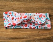 Knit Bow Headband in ditsy floral -- Baby, Child and Adult available