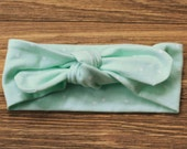 Knit Bow Headband in mint and white dots -- Baby, Child and Adult available