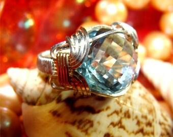 Sz 4 1/2 Blue Topaz Handmade STERLING Ring