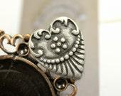 6 Crest Heart Antique Silver Metal Shank Buttons - 0.71 inch