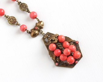 Sale - Vintage Art Deco Simulated Coral Bead Brass Pendant Necklace - 1930s Salmon Pink Glass Grape Cluster Filigree Flower Costume Jewelry