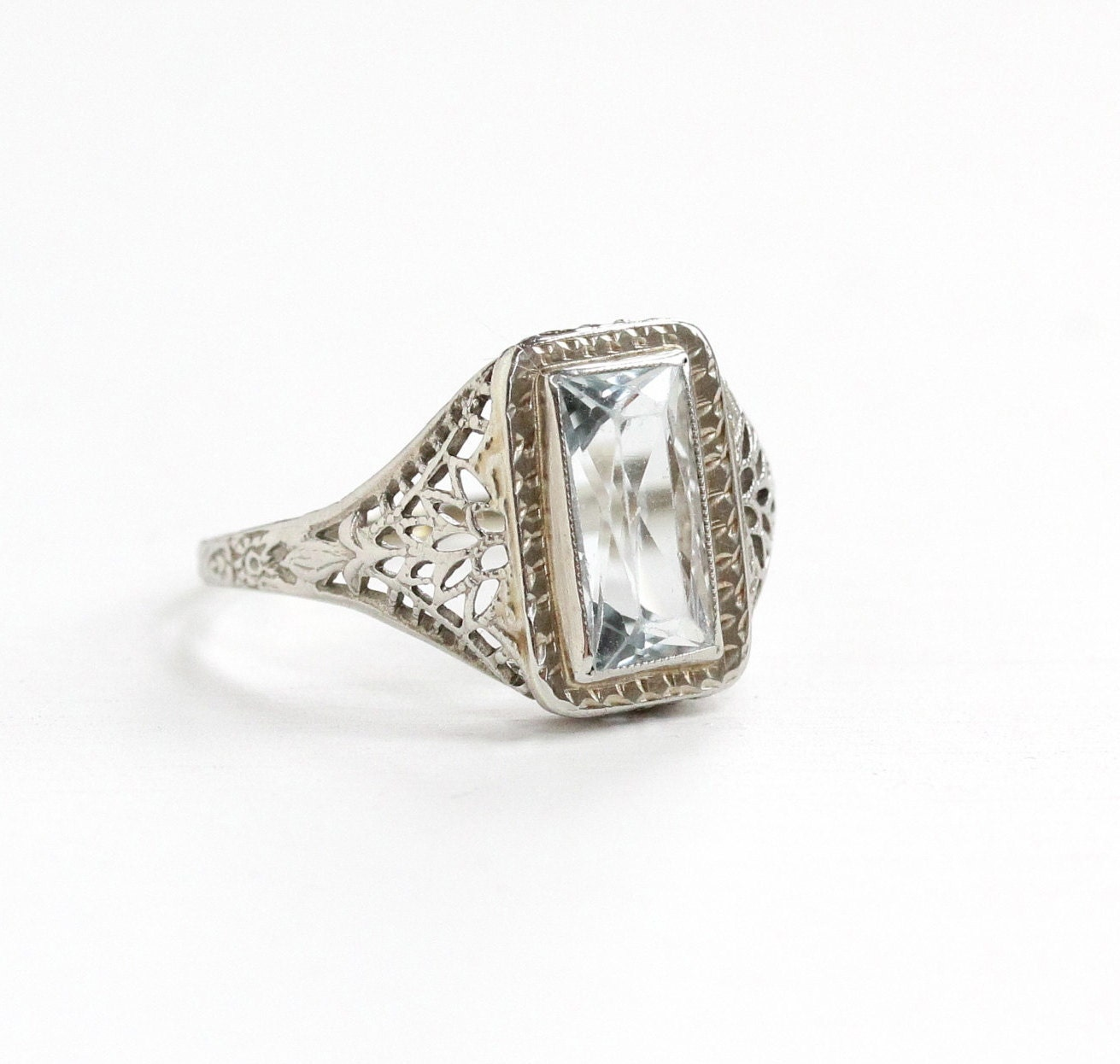 Sale Antique 14k White Gold Filigree Aquamarine Ring Size