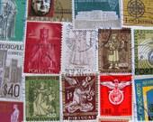 Lisbon or Not 50 Vintage Portugese Postage Stamps Portugal República Portuguesa Algarve Angola Timor Europe Scrapbooking Worldwide Philately