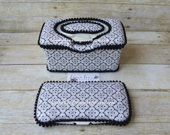 Set of 2, Large Nursery Wipe Case and Travel Baby Wipe Case, Black Gray and Gold Medallion, Elegant Baby Shower Gift Set, Flower Wipe Cases