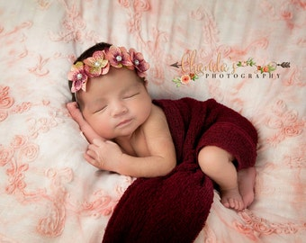 READY TO SHIP, Pink Hydrangea Flowers Headband, Shabby Flower Headband, Baby Shower Gift, Newborn Headband,  Four Hydrangea Flowers Headband