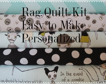 Zombie Rag Quilt Kit, Designer Fabrics,  Easy to Make, Personalized