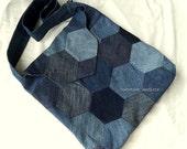 Ooak Bohemian Crossbody Messenger bag, Recycled Reclaimed Denim, Large Patchwork Denim Bag,  Handmade by Barefoot Modiste, Unique Eco Chic