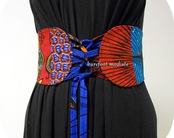 African Patchwork Corset Belt, One of a Kind art to wear, Unique African Patchwork Belt, OOAK Obi belt, Ankara wax Style, B Modiste Handmade