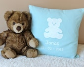 Personalized  Baby Pillow - Hand Painted New Born Cushion - 16 x 16 Baby Pillow - Teddybear Pillow - Personalised Baby Boy Pillow