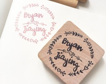 Couple name wedding stamp stamp/ leafy/ floral border/ hearts/ love/ customized wedding stamp/ custom wedding gift/ round stamp/ garden love