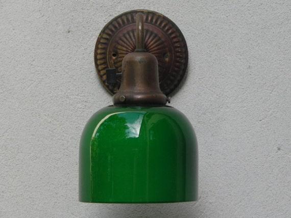 Antique Green Glass Wall Sconce Bar Cafe Light circa