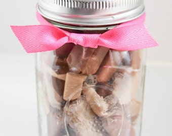 Perfect TEACHER Gift or Sweets for your Sweetie - Fleur de Sel Caramels - (1) 1/2 Pound Jar