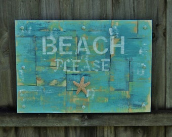 BEACH Please Wooden Sign, Beach House Decor, Wall Art, Wall Hanging