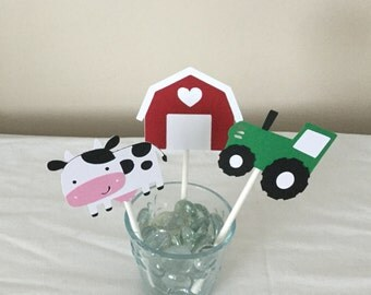 12 Farm Themed cupcake Toppers Tractor Farm animals Red Barn