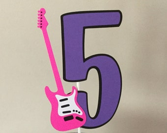 Rock Star Guitar Smash Cake topper purple pink guitar