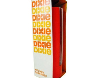 Vintage Kitchen Orange Dixie Cup Dispenser retro kitsch orange crush
