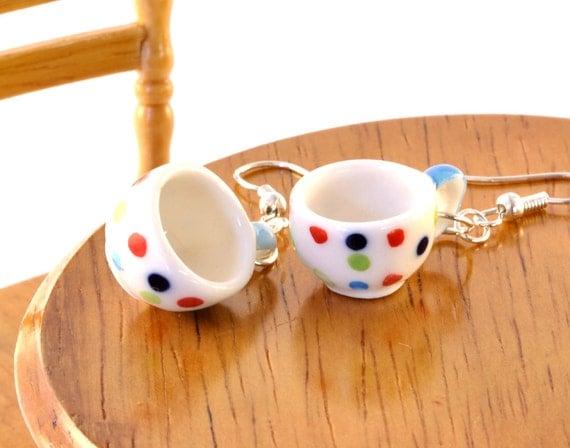 Polka Dot Teacup Earrings, Gift for Tea Lover, Teacup Jewellery