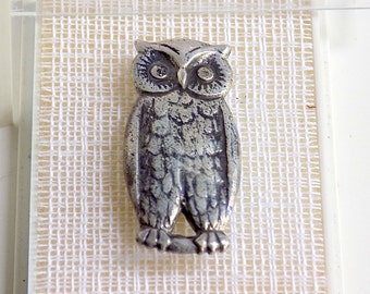 Heikki Seikkinen Medaljonki Finland Sterling Silver Owl Brooch