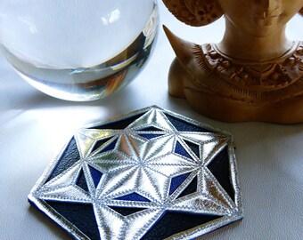 Sacred Geometry Leather Patch - Merkaba - Crop Circle - Handmade Fashion
