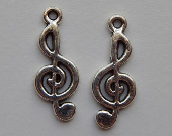 10 Pieces of Metal Jewelry Charms - 26mm Music Note, Treble Clef, Musical Beads, Drops, Double Sided, Silver Color, Base Metal, Top Loop