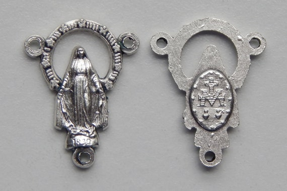 5 Rosary Center Piece Findings - 23mm Long, Miraculous, Mary Immaculate, Silver Color Oxidized Metal, Rosary Center, Religious Beads, RC103