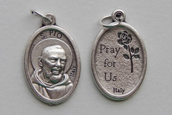 5 Patron Saint Medal Findings - Padre Pio, Die Cast Silverplate, Silver Color, Oxidized Metal, Made in Italy, Charm, Drop, RM901