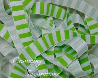 7/8 Citrus Lime Stripes on Whiite US Designer Ribbon