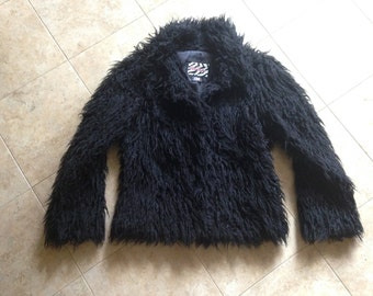 Faux Fur Black Shaggy Jacket 1990's Size Medium Burning Man Furry Festival Costume Raver Disco Pimp Vegan