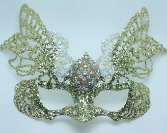Butterfly Mask,Gold Butterfly Mask With Borealis Crystals,Gold Glitter Mask,Masquerade Mask