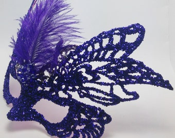Purple Glimmer Masquerade Mask,Butterfly Mask,Purple Feather Mask,Half Mask,Fancy Mask