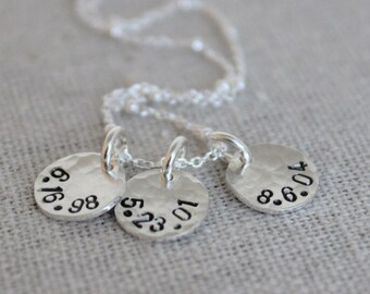 hand stamped birth dates necklace | mommy jewelry | push present | 3 kids | three kids | 3 children necklace | mom of 3 | tiny token dates