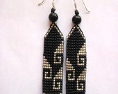 Black and Silver Mexican Greca Beaded Earrings