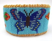 Native American Inspired Beaded Blue Butterfly on Deer Hide
