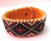 Snakeskin Design, Beaded Bracelet, Your choice of Black Leather or Tanned Deer Hide, LIMITED EDITION