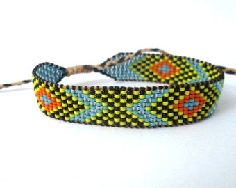 Huichol Native American Inspired Multi-Colored, Beaded Friendship Bracelet 104