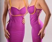 Sweetheart Bodycon Dress - Soft Cotton Jersey Fitted Dress - Sexy Braided Dress Summer Minidress Mid-thigh Length Strechy Dress
