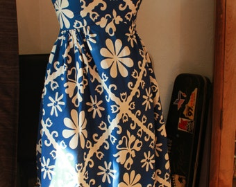 Vintage Mod 60s Blue and White Flower Power Empire Dress Gigette