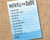 Wishes for Baby Game Blue Ombre Printable Baby Shower Baby Boy Twin Boys Blue Watercolor Baby Wishes Advice Card INSTANT DOWLOAD