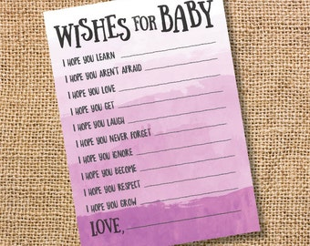 Wishes for Baby Purple Ombre Printable Baby Shower Baby Girl Twins Lavender Watercolor Baby Wishes Advice Card Lilac Plum INSTANT DOWLOAD