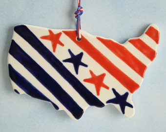 2016 USA America Ornament Hand Painted Red White Blue