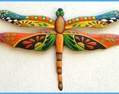 """Metal Art Dragonfly, Hand Painted Metal Dragonfly Wall Hanging, Tropical Wall Decor, Outdoor Garden Decor - Metal Wall Art - 24"""" - J-935-OR"""