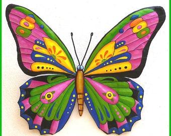 """Metal Art Butterfly 29"""" x 36"""", Butterfly Art, Painted Metal Wall Hanging, Whimsical Metal Art Design, Metal Garden Wall Art, J-903-YL-PK-36"""