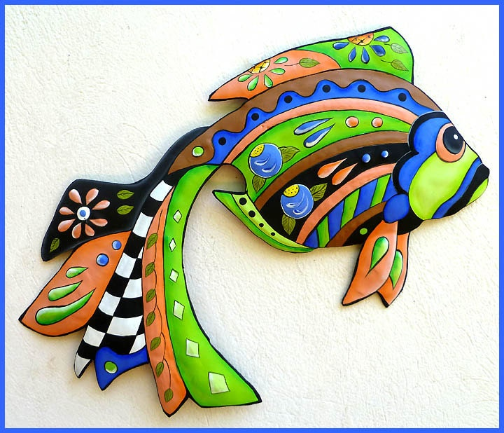 Outdoor metal wall art tropical fish metal wall hanging for Tropical metal wall art