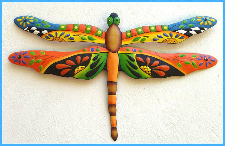 Metal Art Dragonfly Painted Metal Dragonfly Wall Hanging