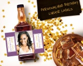 Custom Mini Bottle Birthday Favors Personalized Liquor Labels and Empty 50 mL Bottles 30 and Fabulous Adult Birthday Party Favors EB-1092