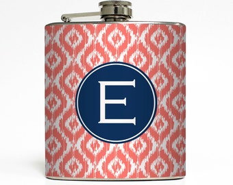 Personalized Flask Custom Color Ikat Initial Monogram 21st Birthday Sorority Big Little Gifts Stainless Steel 6 oz Liquor Hip Flask LC-1191