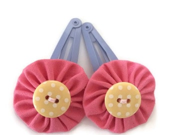 Pink Yoyo Fabric Hair Clips with Polka Dot Button