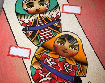 Nesting Dolls Original Tattoo Flash